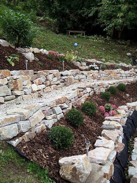 garten trockenmauer naturstein hanggarten