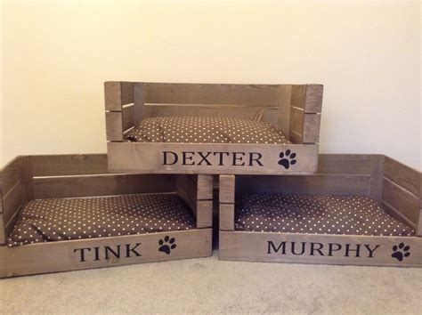 dog crate beds wooden personalised apple crate dog cat bed