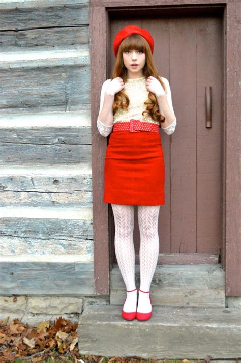 red skirt  white tights pretty outfits fashion