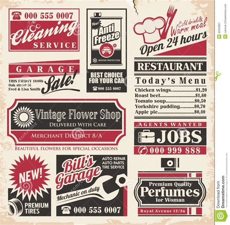 newpaper card ad templates retro newspaper ads design template stock vector image