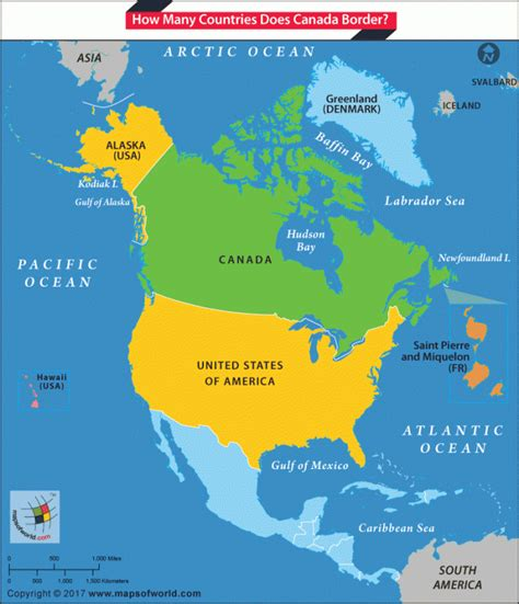 canadian map of nations canada shares its border with only us answers