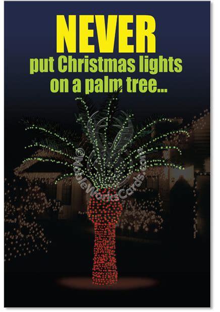 christmas light palm tree red rocket joke greeting card