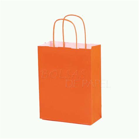 bolsa en bolsa bolsas de papel naranja con asa rizada bolsas de papel