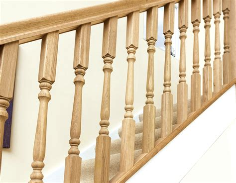 traditional contemporary white oak stair spindles