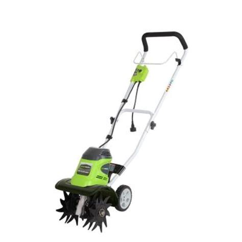 greenworks 10 in 8 electric tiller cultivator gw27072