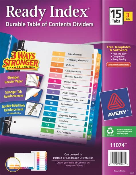 avery table of contents template 15 tab avery ready index table of contents dividers 15 tab set