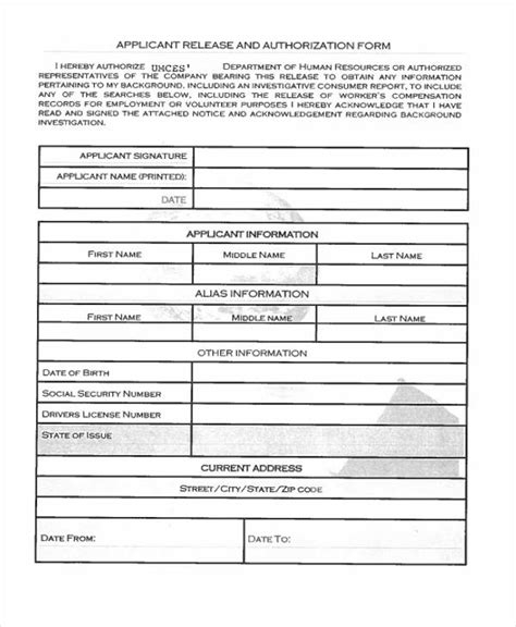 Nh Criminal Record Release Form Sle Release Authorization Form 14 Free Documents In Word Pdf