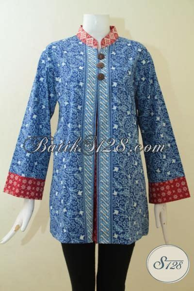 Blus Batik Biru Xl pakaian batik blus warna biru kombinas merah batik cap