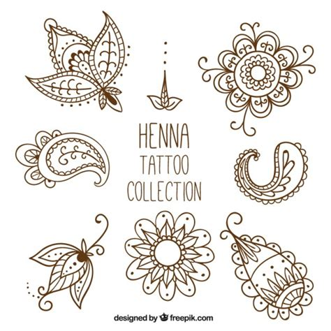 henna tattoo studio hand drawn style vector free download