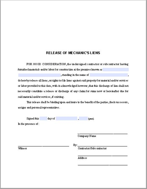 lien waiver template release of mechanic s liens certificate template free