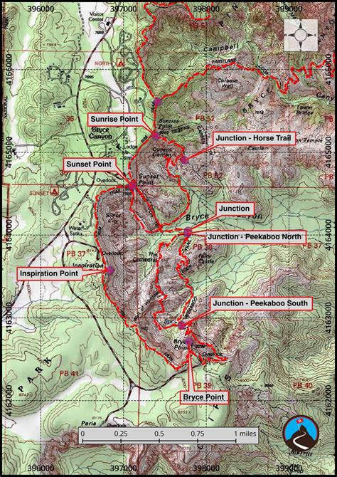 bryce hiking map hiking bryce bryce road trip