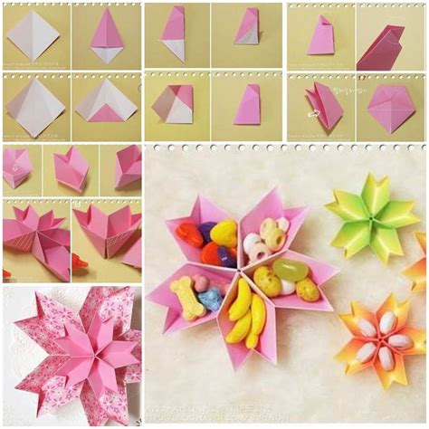 How To Make Paper Dish - diy origami paper flower dish