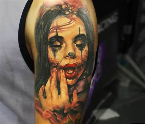 horror clown tattoo by sergey shanko no 1924