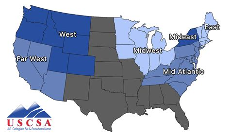 8 regions of the united states map conferences uscsa united states collegiate ski and