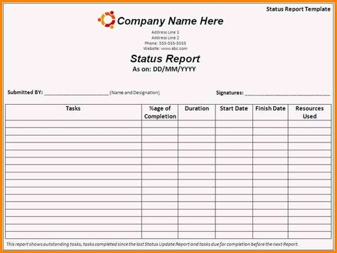Work Status Report Template Excel Daily Status Report Template Competent Imagine Work Format