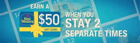 Best Western Hotel Gift Cards - earn 50 cash card when you stay 2 separate times hotelpromobook com