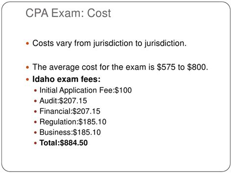 cpa exam cost per section the cpa examination