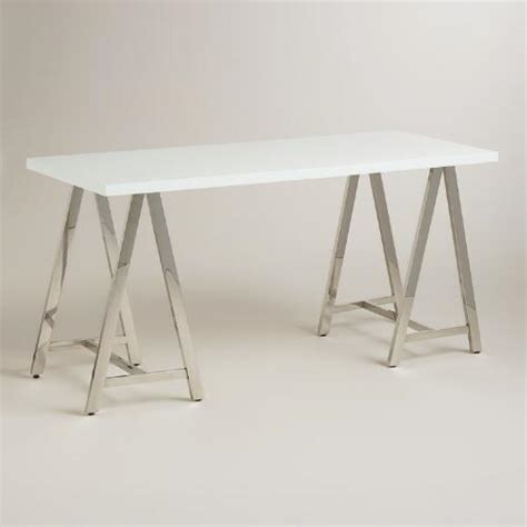 chrome sawhorse table legs signature furniture home office sawhorse desk
