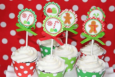 printable housewarming cupcake toppers gingerbread house party christmas holiday party ideas