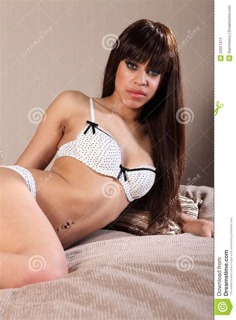 beautiful young woman body in cotton lingerie stock photos