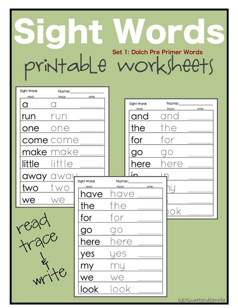 printable dolch sight words just sweet and simple preschool practice printable dolch