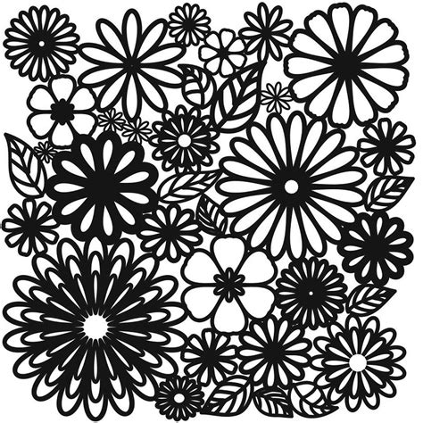 glass stencil flower frenzy 15cm x 15cm