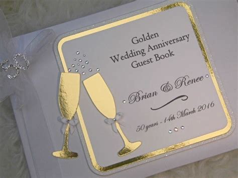 Golden Wedding Anniversary Guest Book Personalised