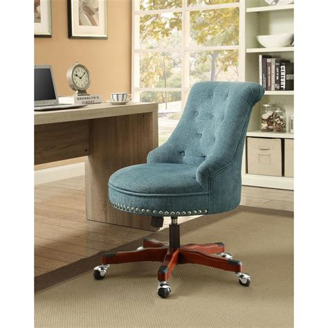 linon home decor linon home decor sinclair aqua polyester office chair