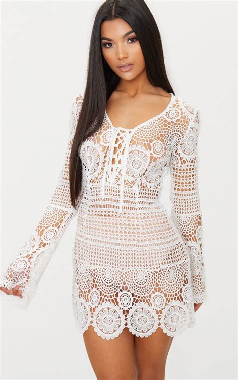 breanna white tie front flare sleeve crochet lace dress