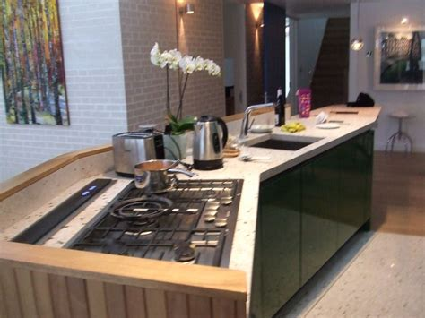 view of island with downdraft extractor & flush fit Miele