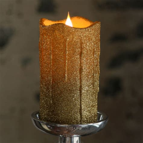 led gold glitter flameless candle 10 in candles home simplux led gold glittered dripping candle moving flame