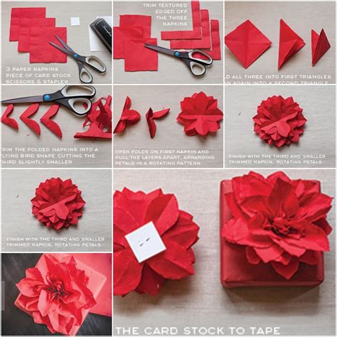 paper poinsettias made from recycled cards template how to diy paper napkin poinsettia tutorial