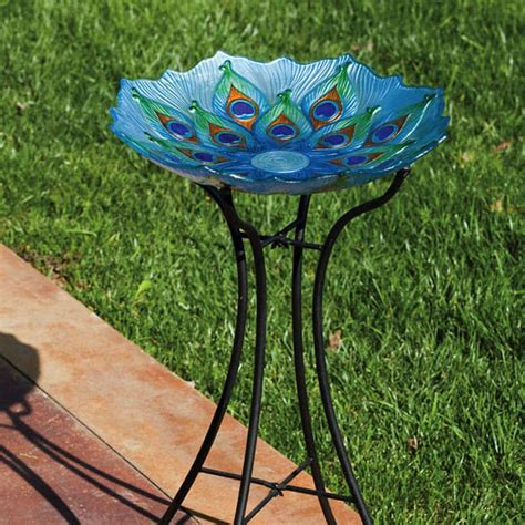 glass peacock bird bath large northwest nature shop