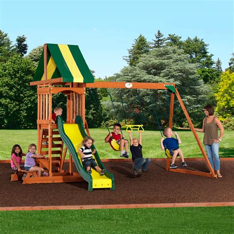 wooden outdoor swing set backyard discovery prestige wood swing set