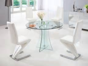 Round clear glass dining table and 4 chairs in red black white