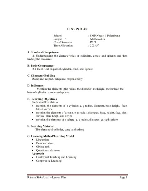 sle lesson plan template for high school lesson plan 9th grade junior high school