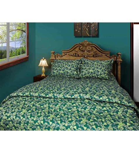 green bed sheets just linen printed sea green king size bedsheet set of 3