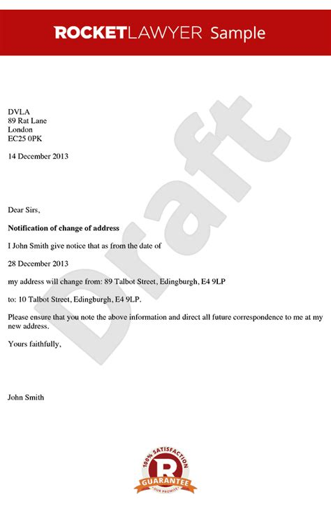 change of address notice template change of address letter letter for change of address sle