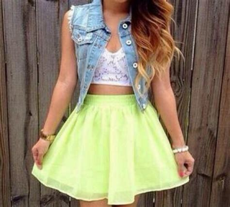 skirt green neon flowy blouse denim crop tops white