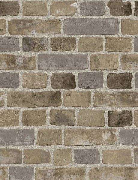 taupe  gray rustic brick wallpaper