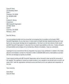 resignation letter from board 6 board resignation letters free sle exle format