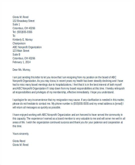 non profit board of directors resume sle sle resignation letter from board of trustees school