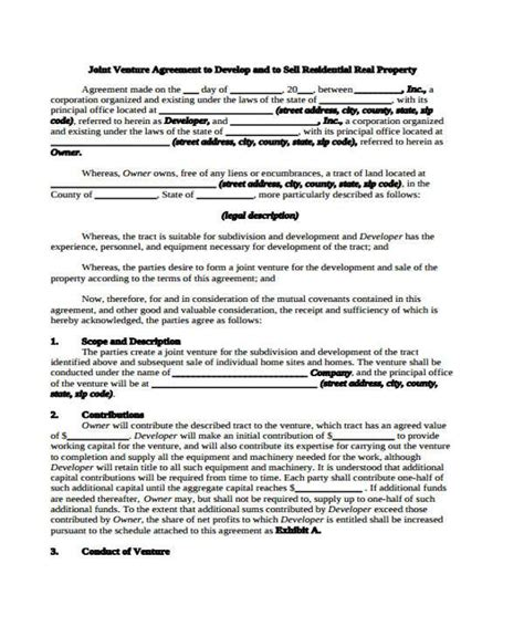 joint venture agreement template pdf sle joint venture agreements 8 joint venture agreement