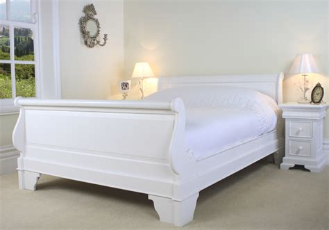 White Wooden Sleigh Bed New Mahogany Sleigh Bed 6ft King Size High Foot Board Painted White Ebay