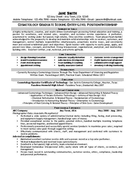 Resume Tips And Exles by Beautician Cosmetologist Resume Resume Exles