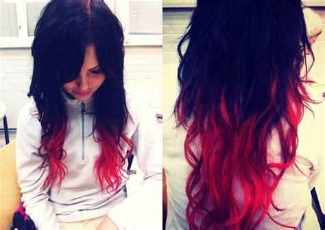 black with red dip dye hair dip dye red and black hair pinterest dip dye dyes