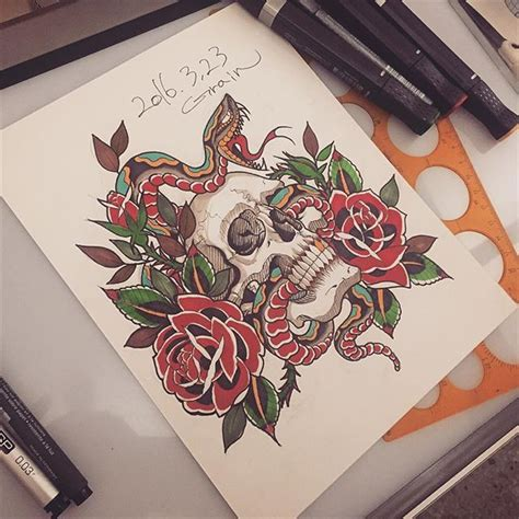 snake tattoo neotraditional snaketattoo on instagram