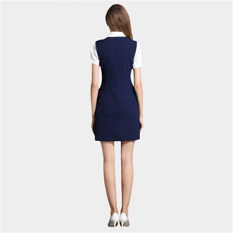 Dress Liris Navy Putih Fashion Import Impor ssxr button pocket vest navy dress 5344 0cm