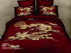 Peacock Duvet Cover Set Chinoiserie Chinese Style Exquisite Dragon And Phoenix