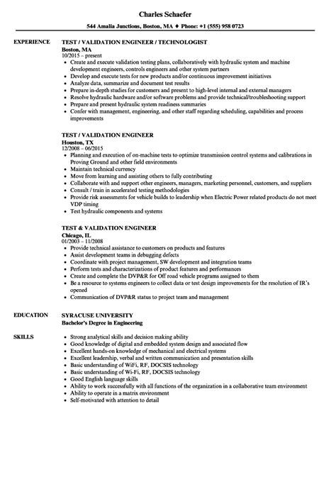 Validation Engineer Resume by Test Validation Engineer Resume Sles Velvet
